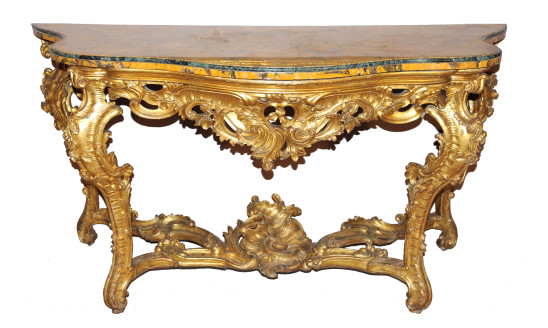 Consol in legno riccamente intagliato e dorato, piano in marmo lastronato