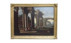 Coppia di architetture di scuola romana; cornici dorate a mecca