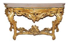 Consol in legno riccamente intagliato e dorato