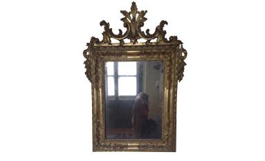 Piccola specchiera in legno intagliato e dorato